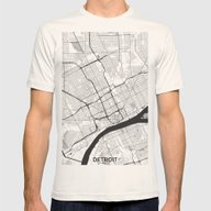 Detroit Map Gray Mens Fitted Tee Natural SMALL