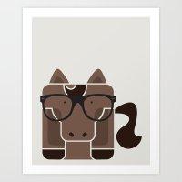 Hipster Horse Art Print Art Print