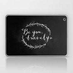 Be You Bravely // White on Black Laptop & iPad Skin