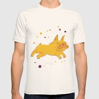 Happy Fall, Dogs! (Frenchie) Mens Fitted Tee Natural SMALL