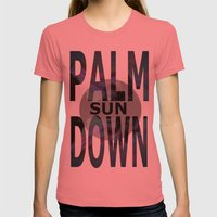 Palm Sun Down Womens Fitted Tee Pomegranate SMALL