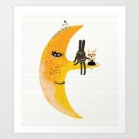 We and Mr. Moon Art Print