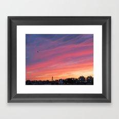Sunset over the Hudson Framed Art Print