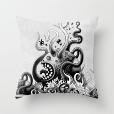 Dark Octoworm Throw Pillow
