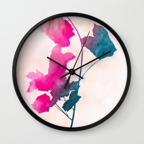 Maple_Watercolor 1 by Jacqueline & Garima Wall Clock