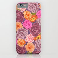 iPhone & iPod Case featuring WILDFLOWER: roses, chrysanthemums, purple, pink, orange by bows & arrows