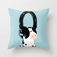 La vache mélomane Throw Pillow