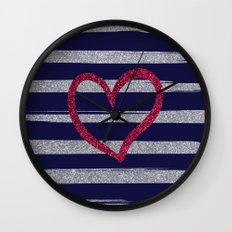 Red heart on shiny silver stripes (in blue) Wall Clock