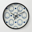 oak wreath and dots - blue Wall Clock