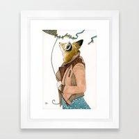 Fox And A Kite Framed Art Print