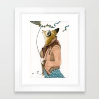 Fox and a Kite Framed Art Print