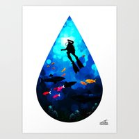 Diver Of The Blue Art Print