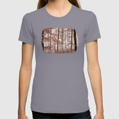 Snowy Forest Womens Fitted Tee Slate SMALL