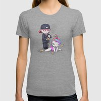 PIZZA RAIN Womens Fitted Tee Tri-Grey SMALL