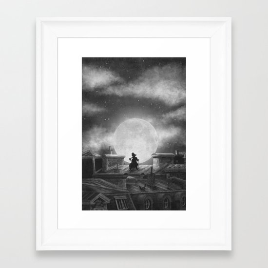 Rooftoppers (mono)  Framed Art Print