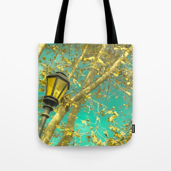Autumn Gold Leafs in Turquoise Sky  Tote Bag