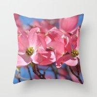 Pink Dogwood Flowers Throw Pillow