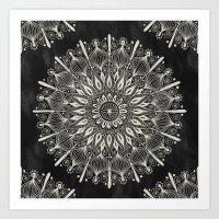 Vintage Mandala On Black Art Print