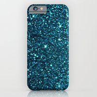 iPhone Cases featuring blue sparkle by Ingrid Beddoes