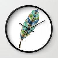 Seaside Feather Wall Clock
