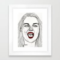 Kate With The Red Lips Framed Art Print
