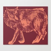 Canvas Print featuring Pink Wolf by Katie O'Hagan