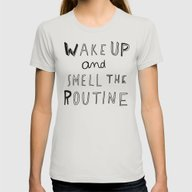 WAKE UP Womens Fitted Tee Silver MEDIUM