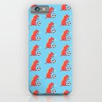 Blue Cartoon Dinosaur Soccer Pattern iPhone 6 Slim Case