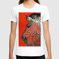zebra T-shirts featuring Zebra  by Saundra Myles