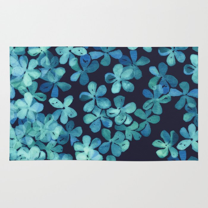 Navy Paisley Rug: Hand Painted Floral Pattern In Teal & Navy Blue Rug By