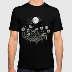 Moonlit Poppies Mens Fitted Tee Black SMALL
