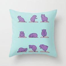 Baby Hippo Yoga Throw Pillow