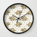 Triceratops & Triangles Wall Clock