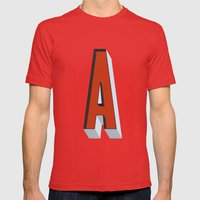 Letter A Mens Fitted Tee Red SMALL