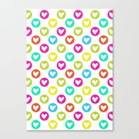 Colorful Hearts  Canvas Print