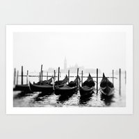 Venetian Gondolas Black and White Art Print