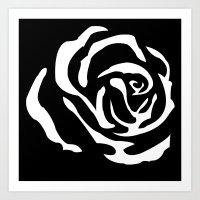 rose in negative Art Print