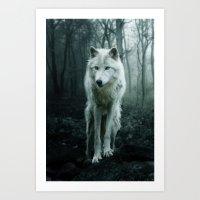 wolf Art Prints featuring Wolf by Julie Hoddinott