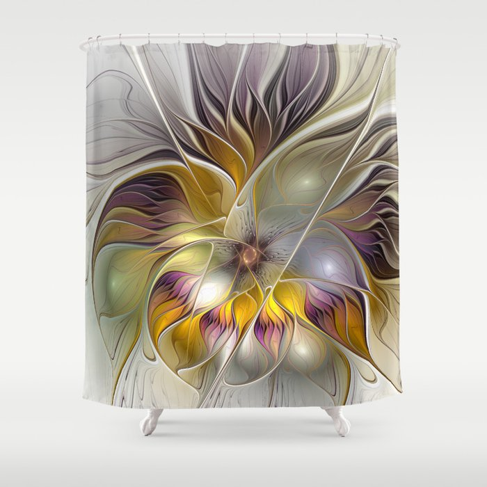 Abstract fantasy flower fractal shower curtain by gabiw for Fantasy shower curtains
