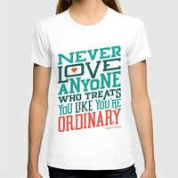 Never Ordinary - Oscar W… Womens Fitted Tee White SMALL