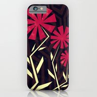 iPhone & iPod Case featuring Red flowers on wood by Yetiland