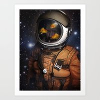 Astronauts and Goldfish Art Print
