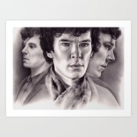 sherlock Art Prints featuring Sherlock by KatePowellArt