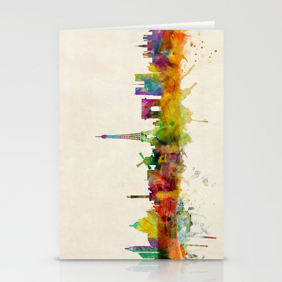 Paris Skyline Watercolor Stationery Card