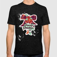 Merry Christmas Mens Fitted Tee Tri-Black SMALL
