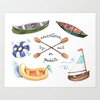 Adventures by Sail or Paddle Art Print