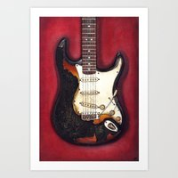 Burnt Guitar Art Print