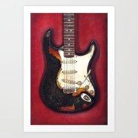 Burnt guitar Art Print