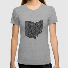 Typographic Ohio Womens Fitted Tee Athletic Grey SMALL