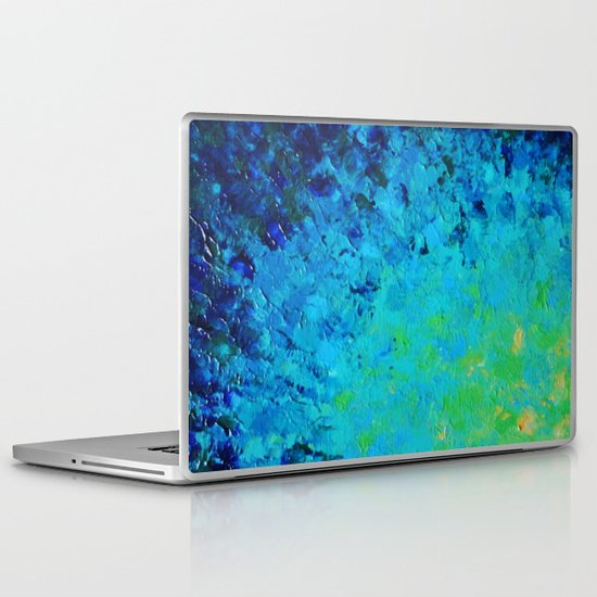 TRUE REFLECTION - Ocean Water Waves Ripple Light Impressionist Bright Colors Ombre Painting Laptop & iPad Skin